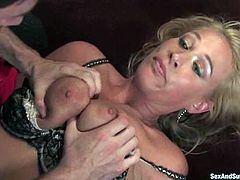 Captivating blonde milf Mellanie Monroe is having fun with James Deen indoors. She lets the man tie her up and then enjoys the way he fists, toys and pounds her juicy cunt.