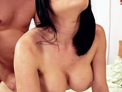 Abby Kat is a super hot milf and she always enjoys anal. This lucky dude destroyed her tight butthole and jizzed allover her belly!