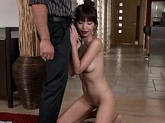 Be pleased with exciting sex scenes featuring sexy Asian whore in kimono. She undresses slowly and starts to suck cock standing on her knees.