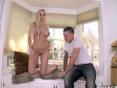 Blond-haired bombshell Christie Stevens with round as and huge perfect tits shows her assets as she gets attacked by huge dildo. She gets her pink smooth pussy licked by hot guy after fun with dildo.