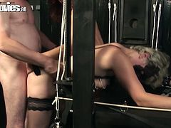 Curly hot redhead and appetizing pale blondie have to be submissive. They follow the order of fat grey haired man and bend over. Busty redhead moans while being fucked doggy. Both bicthes are the way too addicted to cum and don't miss a chance to suck his dick passionately in a dark room.