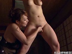 These two busty and filthy girls are a prove to it. They get naked and Minami Ayase suspends her babe. She sticks that powerful vibrator in he muff, making her sigh!