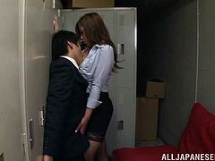 This salaryman is working late one night when office worker Yu Sakura comes in and surprises him. They are both horny and fuck each other right then and there in the corporate headquarters. Yu gives him a nice footjob while wearing fishnet hose.