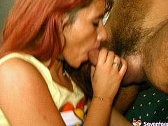 Don't skip this exciting threesome video produced by seventeen Video porn site. One teen serves two cocky dudes. She rides one guy and gives another one steamy deepthroat blowjob.
