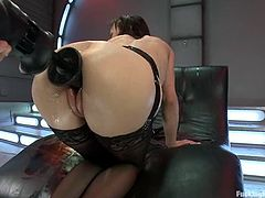 Cytherea toys herself with a vibrator. Then she also gets her wet pussy toyed hard by the fucking machine.
