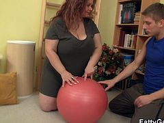 Fatty plowed by her fitness instructor