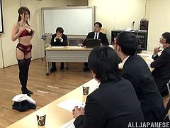 This desirable and super naughty honey loves that huge cock! She gives this dude a nice blowjob in the conference room. Staff meeting is canceled!