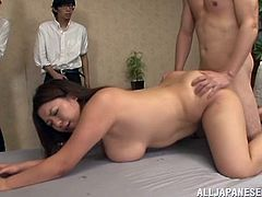 She is chubby, but that's so fine with these dudes. They stick their dicks in every possible hole that Mizuki Ann has! Damn that is so perverted gangbang!
