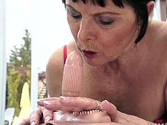 Well, this brunette lewd and old lady is the way too voracious. Horn-mad bitch with wrinkled face gonna go solo. She sucks a dildo like a real cock and then rides it passionately. Her big droopy ass moves up and down and pale gammer moans loudly of pleasure.