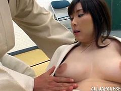 Busty Japanese bitch Mizuki shows her big natural tits to her man and lets him play with them. Then she jumps on his schlong and moans loudly with pleasure.