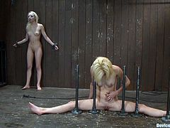 These two blonde girls get bounded by kinky brunette mistress. These blondies get their pussies fingered and toyed. They also have to lick each others pussies.
