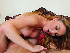 Brunette with small pussy sucks dick and gets a hard fuck from a guy with huge cock