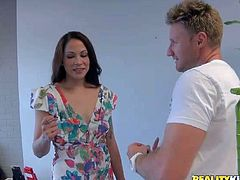 Katt is one attractive dark haired milf babe that pulls down her dress in front of MILF Hunter. She shows her natural pretty small boobs with no shame. He loves touching her boobies.
