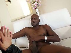 One of a kind blonde milf Nikita Von James with gigantic stunning tits and delicious bouncing ass in fishnet stockings rides on tall black bull with monster cock in living room.