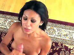 Just spit on it. Staring hot Latina babe Cassandra Cruz. watch as this sexy chick spits on this mans hard cock as she rubs him up and down and she gives him a fantastic hand job. she does such a good job that she gets rewarded with his hot spunk all over her small firm titties.