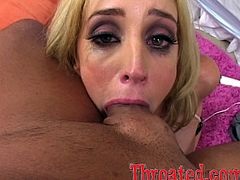 A fucking dude gets his hard cock sucked on by some hot blonde slut that takes that hard dick balls deep into her throat!