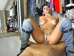 Amanda X is one horny bitch who knows how to make Nacho Vidal fuck her hard