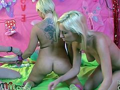 Check out this hot clip where these horny ladies have fun playing with one another before being joined by a big cock.