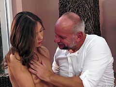 Welcome to enjoy a really hot and pretty lissom brunette. Amazing chick with small tits wears shorts and thirsts for hot sex. She seduces an old man and provides his still strong dick with a solid blowjob for sperm.