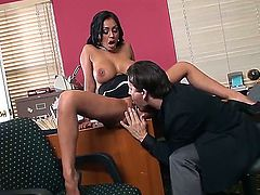 Exotic black haired secretary Priya Rai with big fake tits and smoking hot body in high heels and black skirt gets licked and fucked hard in the office to screaming orgasm.
