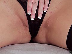Black lace and black stockings on Taylor Vixen look amazing. Her big natural breasts bounce when she fingers herself