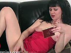 Horny brunette milf Mina loves smoking while stuffing shaved pink pussy with her favorite glass dildo,Watch how this naughty milf masturbates her warm cunt.Enjoy!
