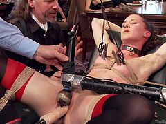 The table is set, the guests are eager to have fun and the sluts are tied and immobilized in the desired positions. All this party needs now is a skilled executor to do the hard work. Well, we have that and our guy makes sure that, by using his experience and skills, he will make the guests enjoy one hell of a party.