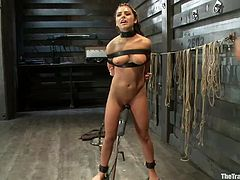 Adriana Chechik gets tied up in a horrible way. This black haired babe has a belt around her neck and chest. Her arms are bound tightly behind her back. Her ass is prodded with an electric prod and then she has to open her mouth wide so her master can put his dick inside. She takes his whole cock deep.