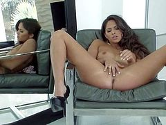 Aspen Rae is a lovely naked brunette with perky tits and tight pussy. She admires her body in the mirror and then spreads her legs to finger fuck her sweet hole with big enthusiasm.