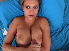 Check out the huge fun bags on this motherfucking slut as she gives head and it's more than obvious than the dude will spurt on those titties!