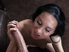 Amazing and adorable young girl Bettina DiCapri spends nice time with Keiran Lee. She kneels and sucks his big penis before getting cunt drilled in doggy fashion.