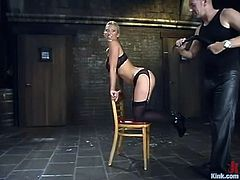 Stunning blonde chick in stockings gets tied up and toyed with a vibrator. After that she gives hot blowjob and gets whipped. Of course, then she gets fucked in her vagina.