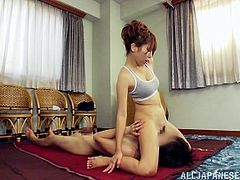Slim Japanese hottie Reiko Kobayaka is having fun with some guy in a bedroom. Reiko fingers her snatch and pleases the man with a blowjob and then they have sex in missionary position.