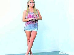 Net Video Girls sex clip provides you with amateur blond model. Wondrous hottie comes to the photo session. Zealous cutie in shorts and top shows her butt without undressing. Then kinky chick agrees to please a dick and rubs dude's cock on cam.
