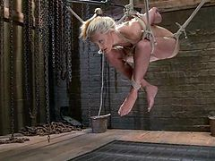 Hot blonde Katie Summers gets bound and hung up by some man indoors. The dude oils Katie's amazing tits and then slams her nice pussy with a dildo.