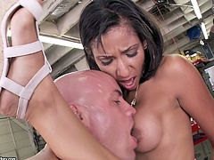 Two horn made busty lesbians make out with a beefy tattooed dude in garage. They tongue fuck each other's cunt while he pokes them intensively from behind doggy in peppering FFM sex video by 21 Sextury.