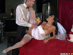 Turned on handsome stud Danny D with long meaty cock gets sucked good by black haired bride with big fake tits and smoking hot ass in white stockings and stripper shoes