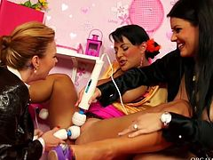 Three spoiled bosomy MILFs throw wild group sex orgy where they widen their tights while sitting on the couch to stimulate them scrutiniously with vibrators in peppering lesbian sex scene by Tainster.