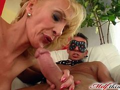Stunning blonde milf likes feeling huge dick gently penetrating into her warm ass hole
