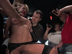 A blonde slut gets fucked and toyed with in this kinky bondage scene video where the action takes place in public. Check it out!
