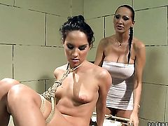 Brunette Bettina Dicapri with juicy boobs gets the pleasure from licking Mandy Brights snatch