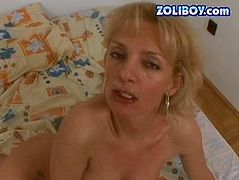 She is nasty blond MILF with filthy sexual fetish. She is thrilled with pissing action. So she serves her mouth to the guy that fills her mouth with urine and later with mouth cumshot.