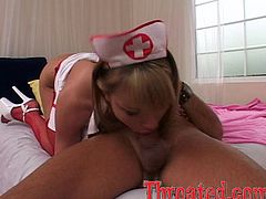 Press play on this great POV where a lucky patient gets an amazing deep throat from a horny blonde nurse craving cock.