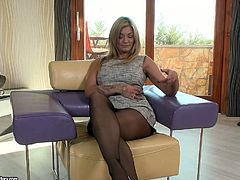 Tall and hot blondie called Klarisa Leone gives a titjob and gets analfucked