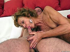 This granny called Katherin is having a great time today as she's getting fucked and sucking the cock of a dude who could well be his grandson.