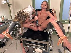 When Jaelyn went to the gynecologist she didn't expected things to get so rough and kinky. Unfortunately for her, Harmony was on duty that day and she has an itch for sexy blondes with bald, tight cunts. Harmony gave this bitch one hell of a treatment, something that will surely change her forever.