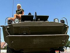She is sextractive tanned teen wearing sexy army costume. You can enjoy her for free while she plays with her shaved smooth pussy outdoor.