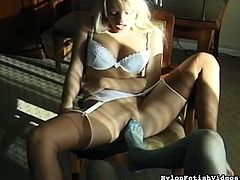 Sensual babes in sexy stockings are playing naughty during lesbian foot fetish scene