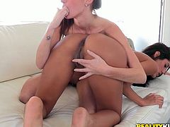 Two tempting babes are rimming anal holes and face sitting on each other