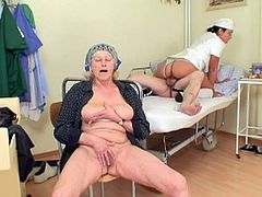 This naughty nurse walks in when granny gives her husband a blowjob. She continues her work and then she rides his cock with his wife masturbating.